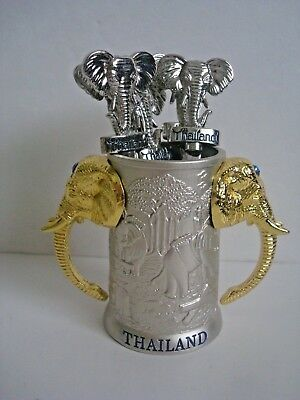 Elephant Hors d'oeuvre Fork Set with Holder Silver/Gold Thailand