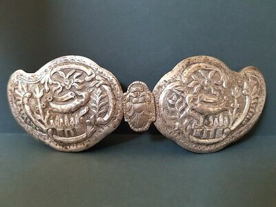 RARE ANTIQUE Thracian Ottoman jewelry silver alloy belt buckle with songbirds