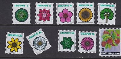 Singapore stamps 1973 MNH Flowers part set