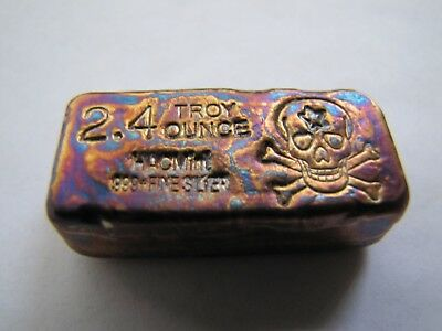 HACMint 2.4 oz 999+ Fine Silver SKULL & CROSSBONES Hand Poured ANTIQUE BAR