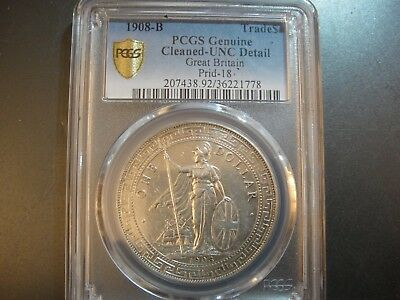 1908-B Great Britain Silver Trade Dollar. PCGS Unirculated Details (Cleaned) PQ