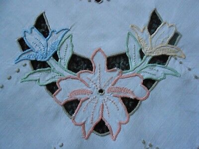 Beautiful Vintage Linen Hand Embroidered Madeira Work Tablecloth