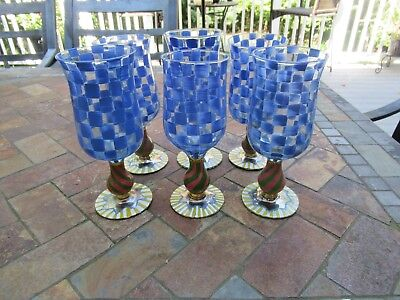 "(6) Rare Retired Mackenzie Child's Biue Check Circus 7 3/4"" Water Goblet, Signed"