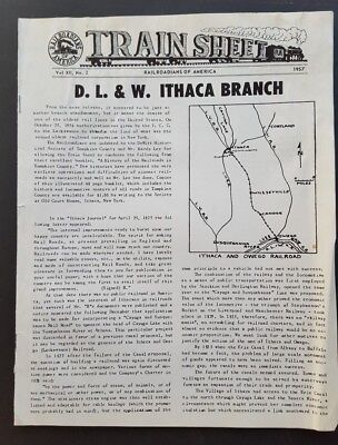 Train Sheet, Vol XII, No 2.  1957 D. L. & W Ithaca Branch,  from Wellsville, NY