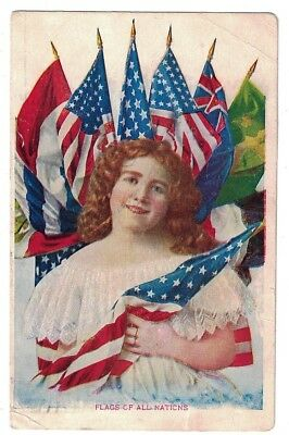 Antique 1908 Flags Of All Nations Patriotic Postcard
