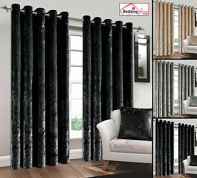 Luxury Pair Crushed Velvet Curtains Fully Lined Ready Made Eyelet Ring Top