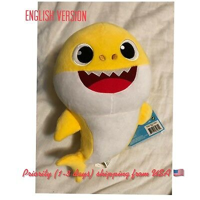 Yellow Baby Shark Official English Singing Plush WowWee USA Ready To Ship