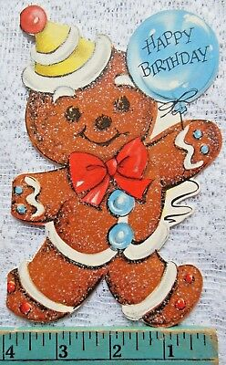 Vintage Birthday Card with Glitter GingerBread Man Birthday near Christmas?