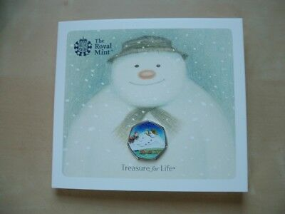 RAYMOND BRIGGS SNOWMAN 50p COIN 2018 BRILLIANT UNCIRCULATED WITH COLOURED DECAL