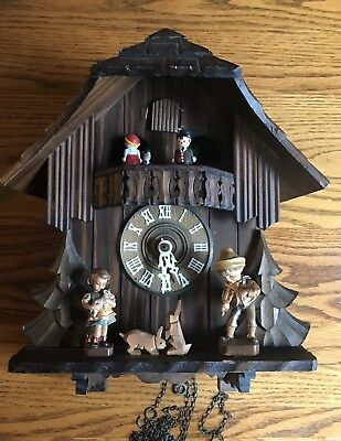 Vintage West Germany Cuckoo Clock-Chalet With Figurines