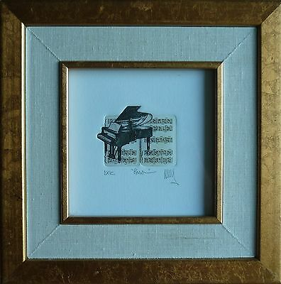 """Vintage Signed Mystery Artist """"Piano"""" Original Etching Print"""