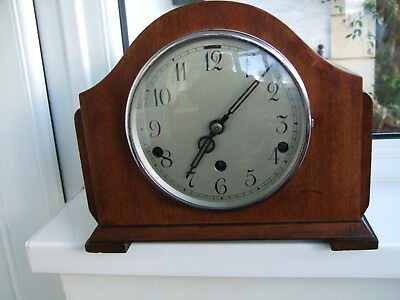 Nice old 3 train mantel clock with lovely sounding Westminster chimes please see