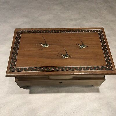 Antique Wooden Sewing Box With Swallows Blue Interior And Key Made In Italy