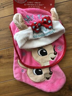 84f6a96d85a Babys First Christmas Pink Rudolph Clarice Reindeer Bib Hat   Stocking Set  Soft