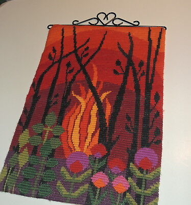 Vintage Swedish handembroidered wool tapestry, forest flames