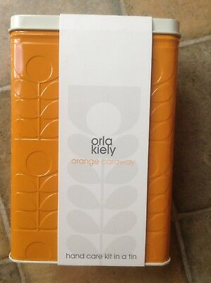 Brand New Orla Kiely Design Hand Care Kit in a Tin Gift Set Orange and Caraway