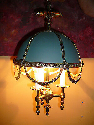 "Stunning Spanish Vintage Green Dome Chandelier 10X32"" Bronze with Three Candles"