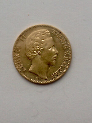 *** 10 Mark Gold König Ludwig II 1874 D - 900/1000 Gold ***