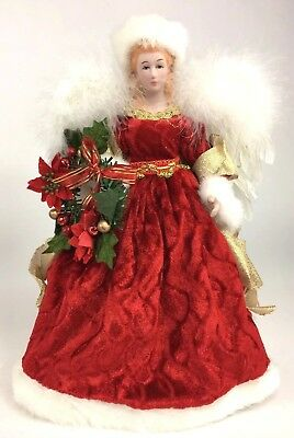 """12"""" Angel Tree Topper Centerpiece Mantel Display Red Gown Real Feathers"""
