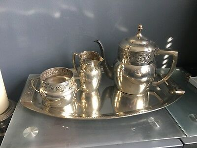 Rare Stunning Orivit Jugendstsil Silverplate 4 Piece Coffee Set With Tray C1900