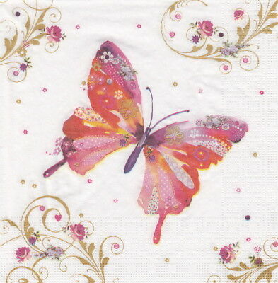 4x Paper Napkins for Decoupage Craft Nigel Quiney: Pretty Butterfly