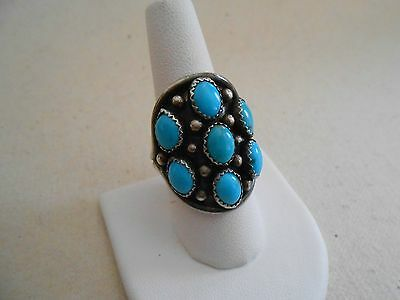 Vintage Southwest Signed Sterling Silver Large Turquoise Ring signed WG  4901313