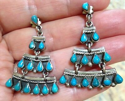 Vintage Sterling Silver Robin Egg Blue Turquoise Handmade Mexico Signed Earrings