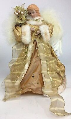 """12"""" Angel Tree Topper Centerpiece Mantel Display Gold Gown Real Feathers"""