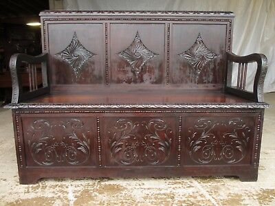 Carved Brazilian mahogany panelled box settle circa 1920 (ref 627)