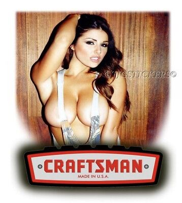 Craftsman Tool Sticker Busty Girl Sexy Decal Mechanic Toolbox Sign Tin Chest Usa