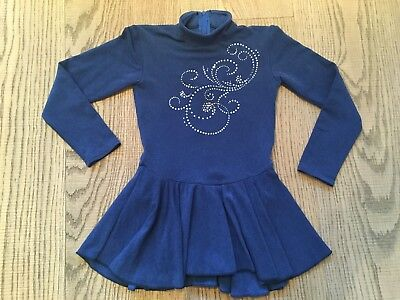 Mondor Girls Blue Ice Skating Dance Dress Crystals Age 8-10 Years