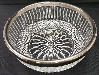 "Vintage Crystal Glass 9"" Bowl With STERLING SILVER Plated Band Around Rim."