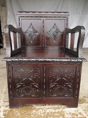 Carved Brazilian mahogany panelled box settle (ref 628)