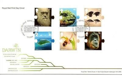 2009 Royal Mail FDC - Birth Bicentenary of Charles Darwin - issued 12 Feb 2009