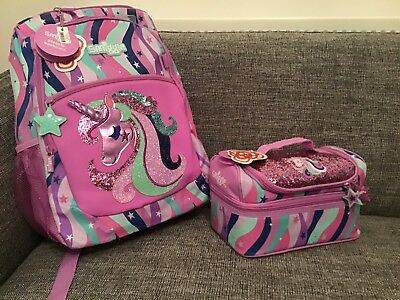 Girls SMIGGLE Lilac Fave Unicorn Backpack & School Lunch Bag Rucksack Purple New