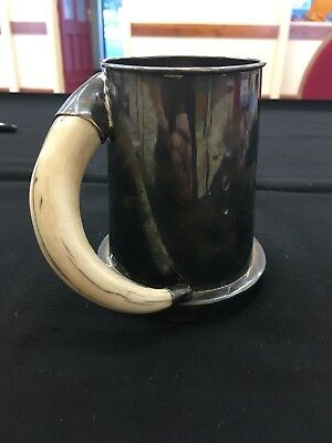 LARGE HEAVY AFRICA SOLID SILVER TANKARD, 545g,