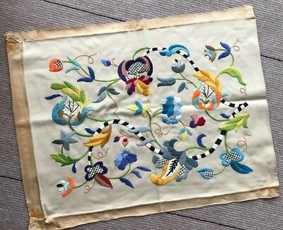 Vintage Swedish handembroidered heavy cotton satin cushion cover or wallhanging
