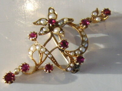 Lqqk Absolutely Stunning 15Ct Gold Antique Victorian Brooch Pendant Ruby Pearls