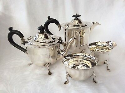 FOUR PIECE 1920's SOLID SILVER TEA SET - Martin, Hall & Co., Sheffield.