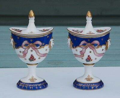 Pair Antique c1820 SEVRES STYLE PORCELAIN HAND PAINTED LION MASK CHESTNUT URNS