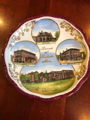 Souvenir Plate Of Rochester Minnesota Made In Germany Antique