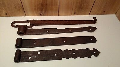 "Lot of 3 antique blacksmith made hinges hand forged about 16"" each"