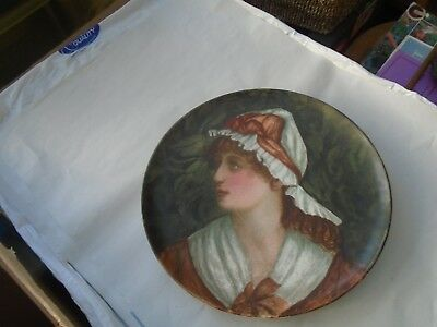 large 19th century hand painted portrait plate/ wall charger N J Oct 1887  LOOK
