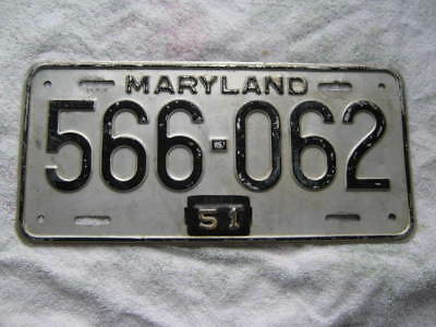 1951 Maryland  License Plate