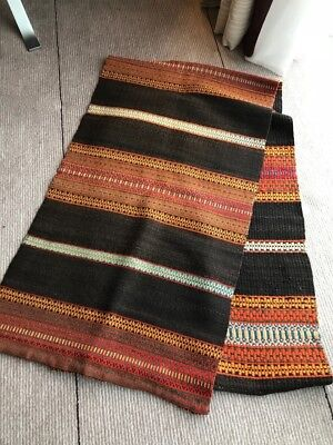 Very long antique vintage Swedish handwoven wool wallhanging, throw or rug