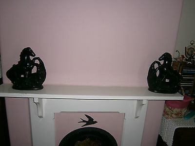 Vintage  Pair Of Mantel Shelf Black Pottery Horses