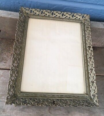 Vintage Brass Tone Gold Metal Filigree Ornate 8 x 10 Picture Frame Velvet Back