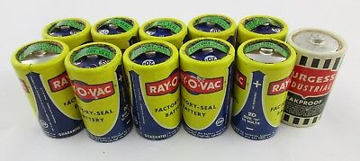 Lot of 11 Vintage D Size Dry Cell Batteries Ray-O-Vac (Factory Sealed) & Burgess
