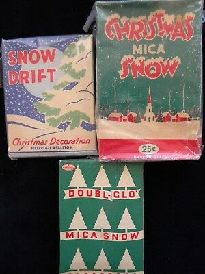 vintage 3 boxes fireproof mica snow flakes Christmas decorations, half full