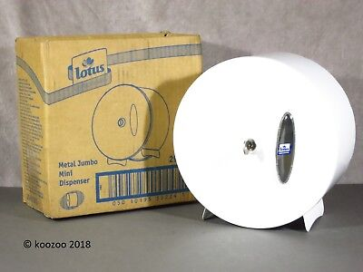 Lotus Professional White Metal Mini Jumbo Toilet Roll Dispenser Lockable 2940030